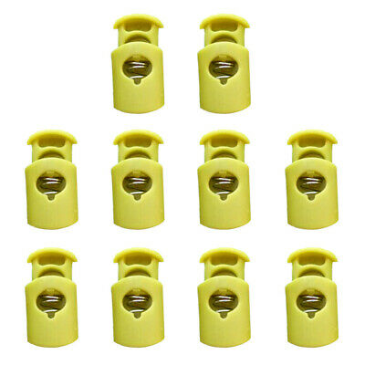 10pcs Spring Plastic Barrel Toggle Stopper Cord Locks - Fluorescent Green