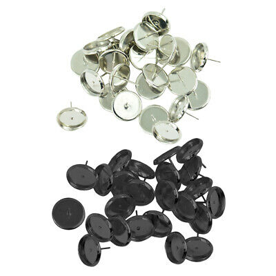 48 Pieces Round Earrings Ear Stud Blank Bezel Setting Base For 12mm Cabochon