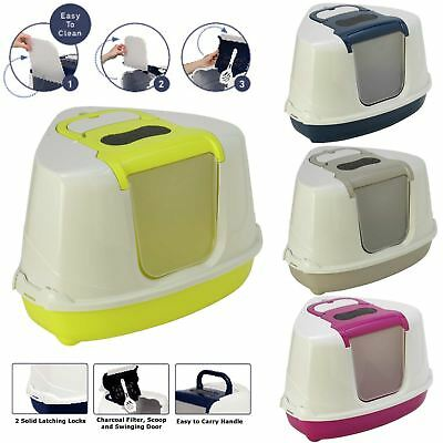 Large Corner Cat Flip Litter Tray 4 Colours Box Hooded Pan Toilet Filter Scoop