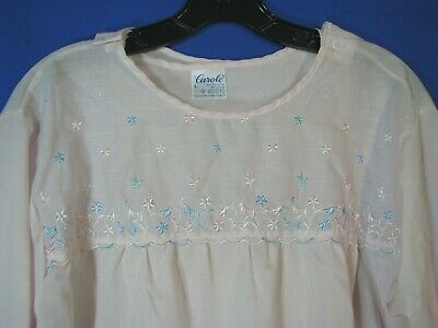NWT CAROLE Vintage PINK W/FLOWERS TWILL Night Gown HOSPITAL OPEN BACK Recovery L