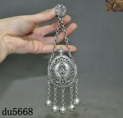 Old China Feng Shui Tibetan silver Double fish Incense bag Sachet amulet Pendant