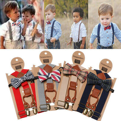 Clip-on Adjustable Printed Bow Tie Elastic Braces Kids Suspenders Cow Tie Belts