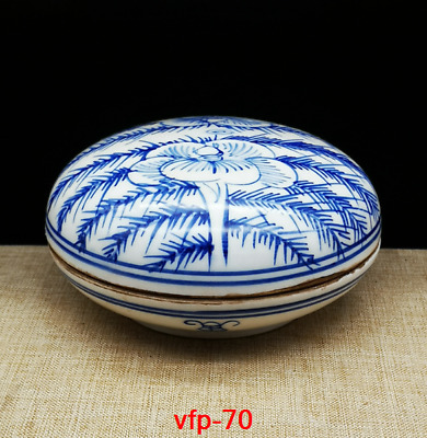 "4.2""""Old China antique Collection Qianlong Blue and white peony Inkpad box"