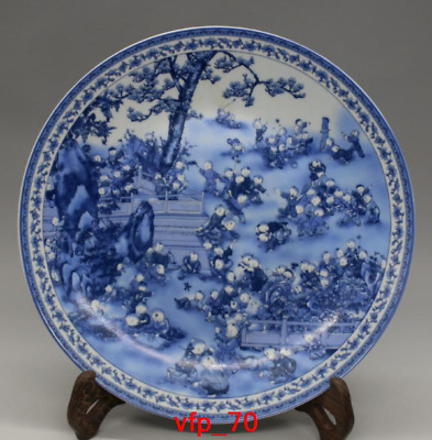 "10.4""old China antique Collection Qing Dynasty Blue and white hundred son disc"