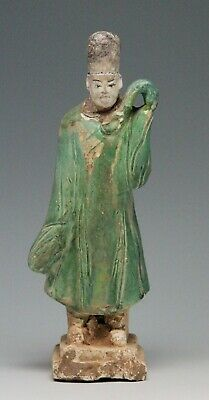 antique Chinese pottery Mingqi Tomb guardian attendant figure, statue 21cm Ming