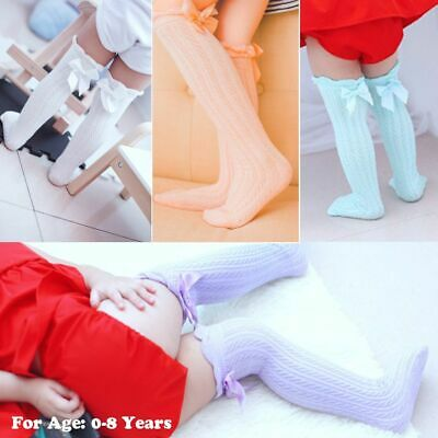 Infant Cotton Baby Lace Socks Knee High Stockings Kids Tights Bowknot Pantyhose