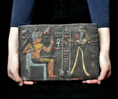 ANCIENT EGYPT ANTIQUE Egyptian plaque Seti I Getting Gifts Stela Relief