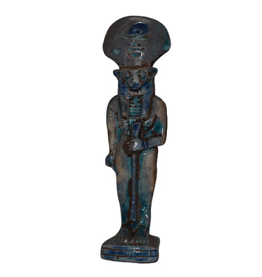 ANCIENT EGYPT ANTIQUE Egyptian blue glazed faience Sekhmet b