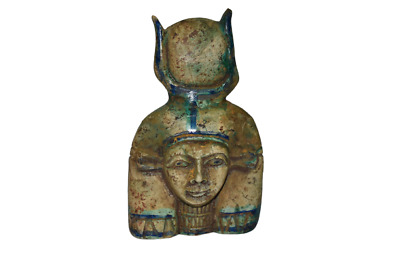 ANCIENT EGYPT ANTIQUE Egyptian blue faience Isis statue