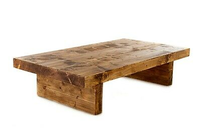 Chunky Rustic Coffee Table Handmade from 3 inch Thick Reclaimed Solid Wood 35 cm