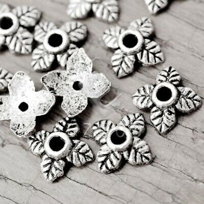 100pcs silver tone crafted flower torus beads H0215