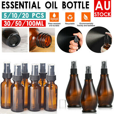 Amber Round Glass Spray Bottles Refillable Container Essential Oils Aromatherapy