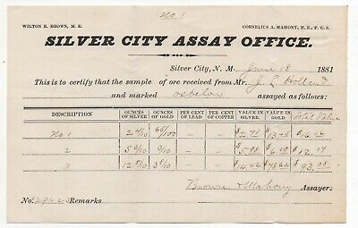 Rare 1881 Silver City New Mexico Assay Office Assayed Ore Receipt