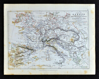 1855 Johnston Military Map Napoleon Europe in 1812 France Spain Austria Belgium