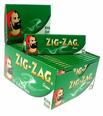 1 5 10 25 50 Zig Zag King Size Green Smoking Cigarette Rolling Papers Genuine
