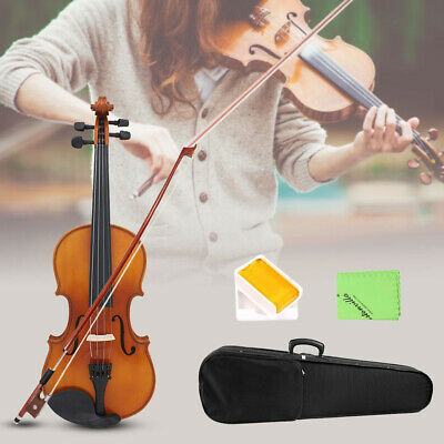 4/4 Full Size Solid Wood Natural Acoustic Violin Fiddle With Case Bow Rosin I3L7
