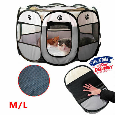 8 Panel Crate Cage Playpen Play Portable Pet Dog Cat Puppy Kennel Tent ACB#