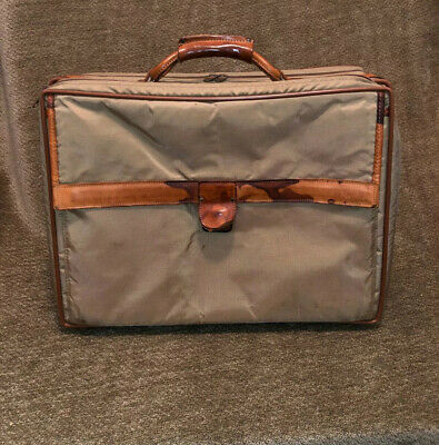 "Hartmann 17"" Carry On Small Travel Luggage Green Nylon Briefcase Leather Bag"