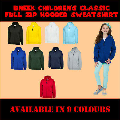 UneeK Childrens Classic Full Zip Hooded Sweatshirt UC506 PE Tee Boys Girls  Kids