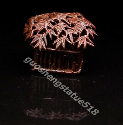 Chinese red Copper Bamboo leaf house thatched cottage thatching Incense Burner