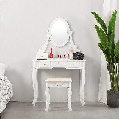 5 Drawers Dressing Table Makeup Dresser w/Mirror Cushioned Stool Furniture White
