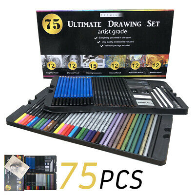 75 Set Pencils Drawing Sketching Shades Art Artist Picture Pencil Draw Colouring