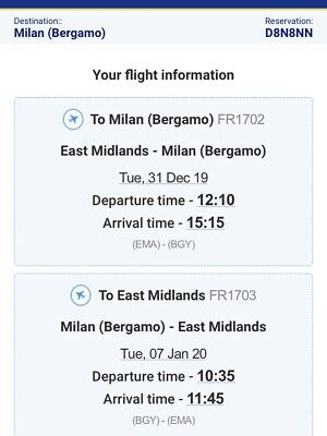 2 Ryanair Flight tickets from East Midland To Milan (31/12/19-07/01/19)