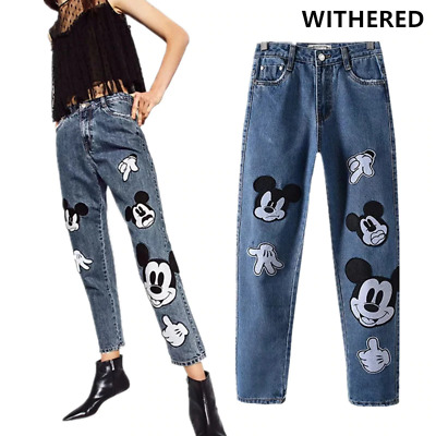 Mickey Mouse Vintage High Waist Women Jeans Cute Embroidery Fashion Pants Blue