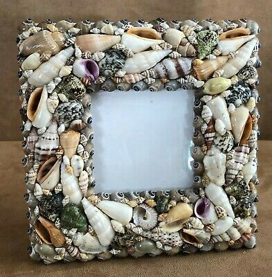 Sea Shell picture frame holds 3x3 photo beach nautical decor Philippines table
