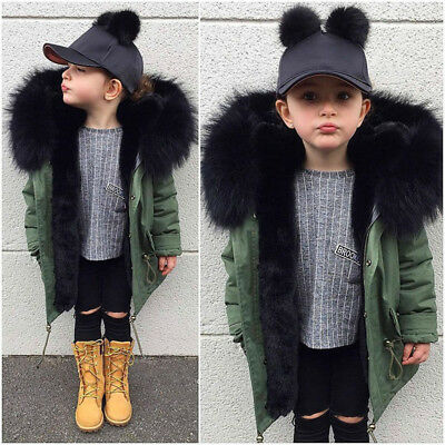 Children Girl Thick Coat Winter Hooded Warm Windbreaker Toddler Parka Outwear KI