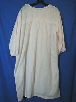 CAROLE Vintage EMBROIDERY PINK TWILL Night Gown HOSPITAL OPEN BACK Recovery L