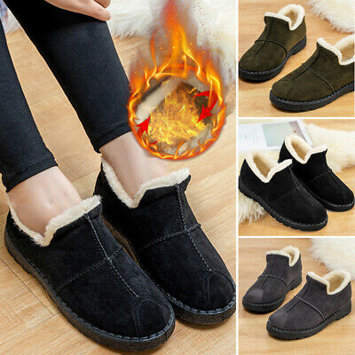 Women Winter Warm Fur Lined Slip On Booties Slippers Snow Flat Shoes Ankle Boots
