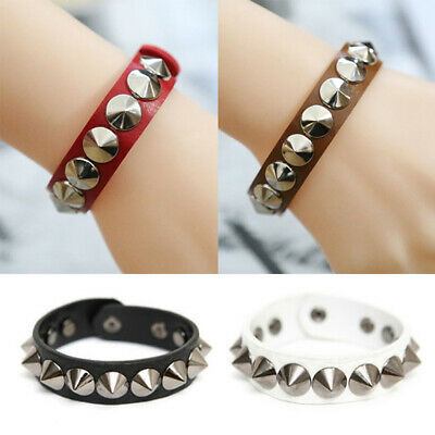 Men Women Punk Gothic Leather Rivet Stud Spike Bracelet Cuff Wristband Jewelry