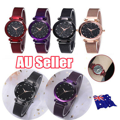 Elegant Women Ladies Crystal Starry Sky Watch Magnetic Strap Watches Gift New GD