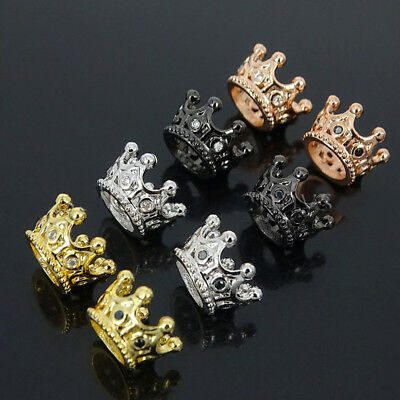 10 Pcs Charm Zircon Gemstones Pave Queen Crown Bracelet Connector Charm Beads