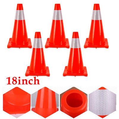 5×18Inch Traffic Cones Barrier Fluorescent Reflective Collar Parking Safety Cone