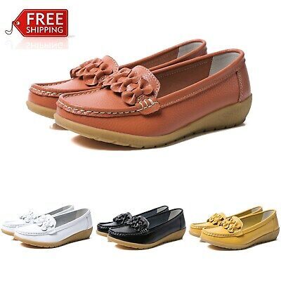 Womens Real Leather Comfy Flats Pump Loafers Ladies Walking Slip On Casual Shoes