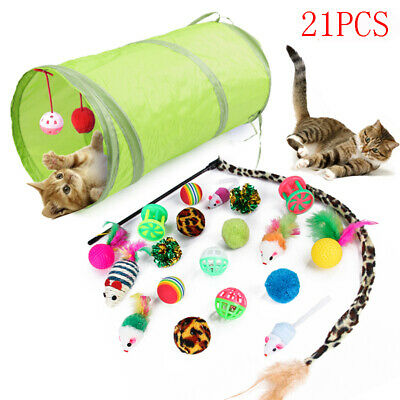 21pcs Funny Pet Tunnel Cat Play Kitten Stick Mouse Cats Stick Ball Toys Bulk Toy
