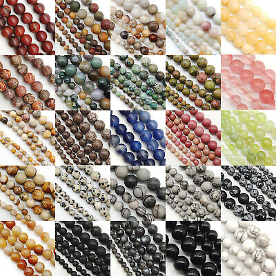 Natural Gemstone Round Spacer Loose Beads 4mm 6mm 8mm Assorted Stones DIY Making