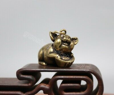 pure Bronze Chinese Zodiac Animal Wealth Amulet Pig Hog Swine yuanbao Pendants