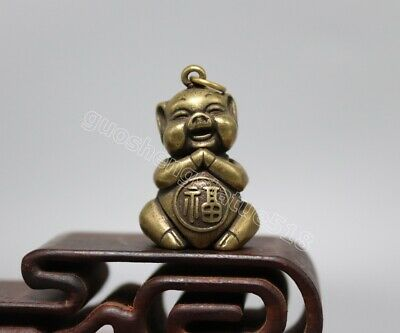 pure Bronze Chinese Zodiac Animal Wealth Amulet Pig Hog Swine blessing Pendants