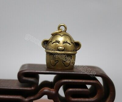 Pure bronze auspicious Chinese Zodiac Animal small bell monkey amulet Pendant