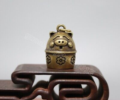 Pure bronze Lucky Chinese Zodiac Animal small bell Pig Hog Swine amulet Pendant