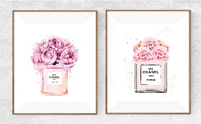 Set Of 2 Rose Pink Perfume - A5 - Quote Home Decor Wall Art Designer Fashion