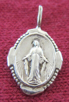 Antique Catholic Religious Medal - STERLING 925 - MIRACULOUS - SWEET & PETITE