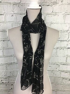 Black Grey Patterned Thin Sheer Casual Scarf - Womens - One Size
