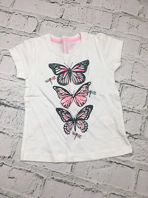 Girl's Primark Top Butterfly Print Short Sleeve White Age 2-3 Years