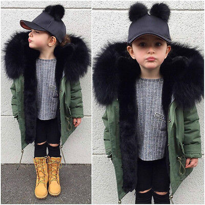Children Girl Thick Coat Winter Hooded Warm Windbreaker Toddler Parka Outwear KD