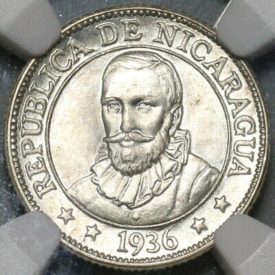 1936 NGC MS 64 Nicaragua 10 Centavos Volcanos Mint State Silver Coin (19122604C)
