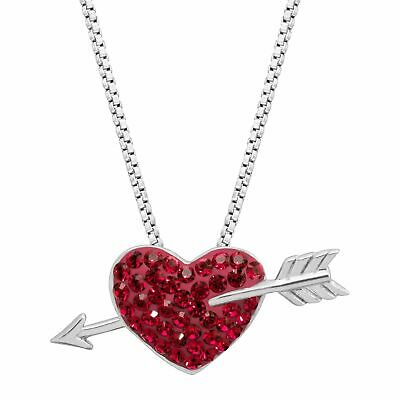VALENTINES DAY GIF Heart & Arrow Pendant with Swarovski Crystals, Rhodium Silver